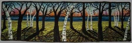 Rug hooked by Jen Lavoie: Birches II