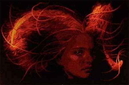 hooked rug: Aries Woman by Mariah Kraus