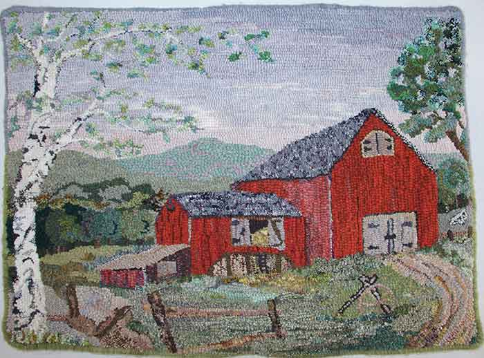 Red Barn with Birches