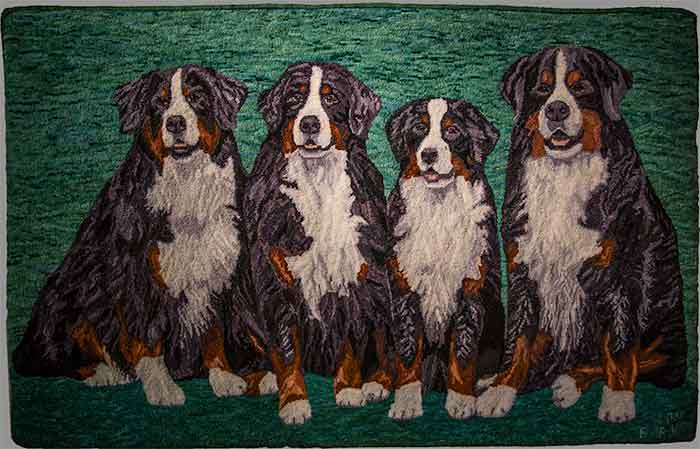 Tennescott-Four-Dog-Rug-Bernese-Mountain-Dogs---Barbie-Beck-Wilczek