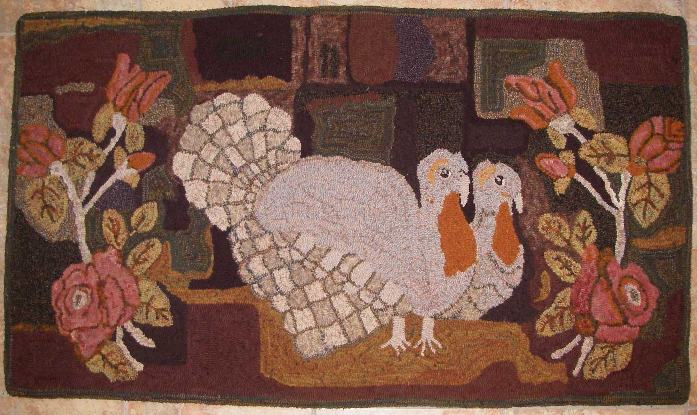 Pair of Turkeys and Roses